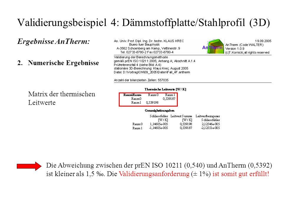 Validierungsbeispiel 4: Dämmstoffplatte/Stahlprofil (3D) Ergebnisse AnTherm: 2.
