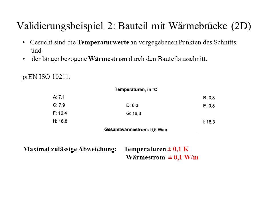 Validierungsbeispiel 2: Bauteil mit Wärmebrücke (2D) Gesucht sind die Temperaturwerte an vorgegebenen Punkten des Schnitts und der längenbezogene Wärmestrom durch den Bauteilausschnitt.