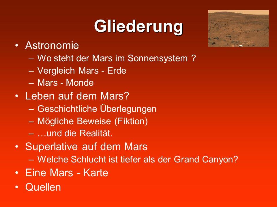 Gliederung Astronomie –Wo steht der Mars im Sonnensystem ? –Vergleich Mars - Erde –Mars - Monde Leben auf dem Mars? –Geschichtliche Überlegungen –Mögl