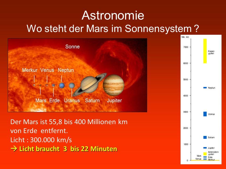 Astronomie Wo steht der Mars im Sonnensystem ? Der Mars ist 55,8 bis 400 Millionen km von Erde entfernt. Licht : 300.000 km/s Licht braucht 3 bis 22 M