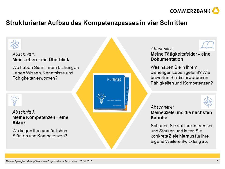 2 Rainer Spangler Group Services – Organisation – Serviceline 20.10.2010 ProfilPASS: Stärken kennen – Stärken nutzen Erkennen und aufdecken Kennen- le