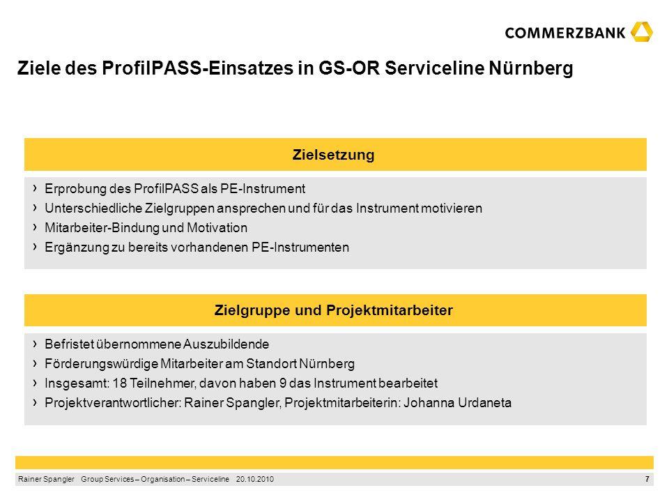 6 Rainer Spangler Group Services – Organisation – Serviceline 20.10.2010 1.Der ProfilPASS – ein Kompetenzpass zum Erkennen der eigenen Stärken 2.Die A