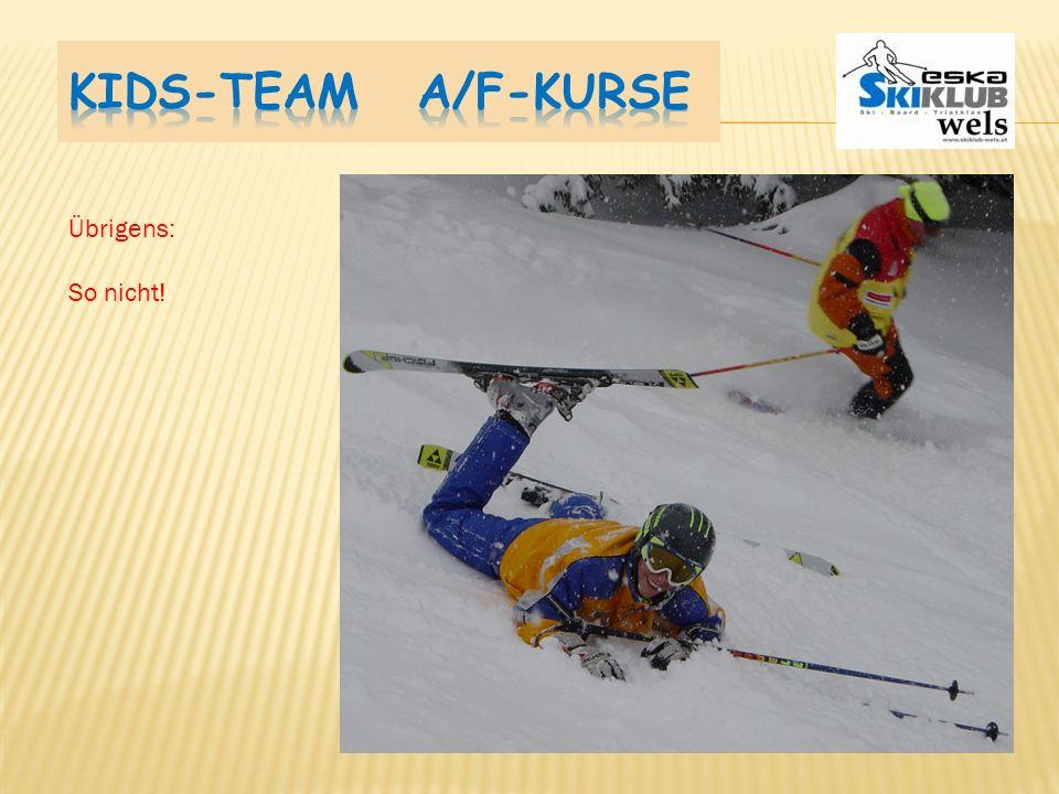 Ski parallel: Die Ski sollen zu Spaghetti werden. - Während der Schrägfahrt Bergski heben u. senken - Bergski während dem Richtungswechsel heben - Ber