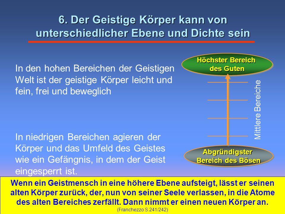 In den hohen Bereichen der Geistigen Welt ist der geistige Körper leicht und fein, frei und beweglich In niedrigen Bereichen agieren der Körper und da