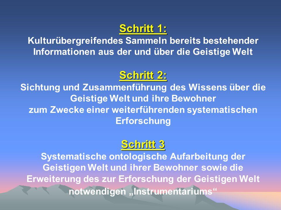 Schritt 1: Schritt 2: Schritt 3 Schritt 1: Kulturübergreifendes Sammeln bereits bestehender Informationen aus der und über die Geistige Welt Schritt 2
