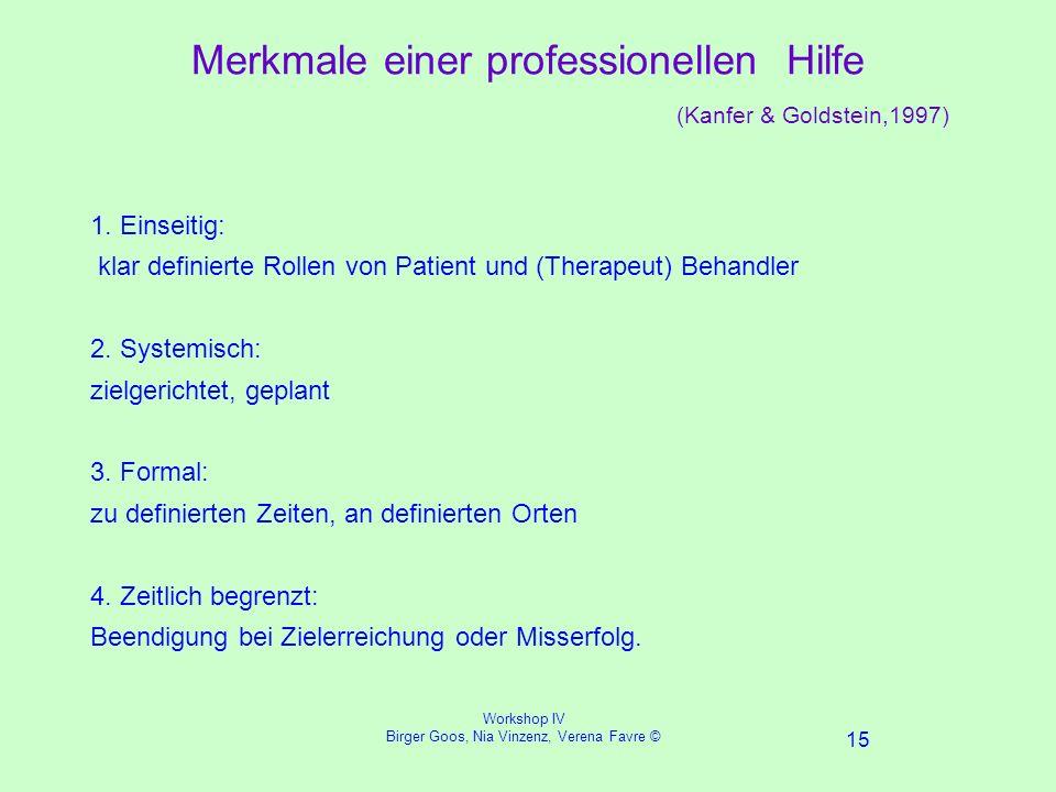 Workshop IV Birger Goos, Nia Vinzenz, Verena Favre © 15 Merkmale einer professionellen Hilfe (Kanfer & Goldstein,1997) 1.