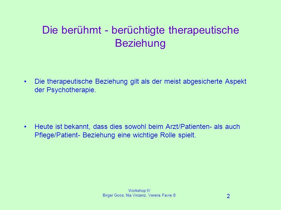 Workshop IV Birger Goos, Nia Vinzenz, Verena Favre © 2 Die berühmt - berüchtigte therapeutische Beziehung Die therapeutische Beziehung gilt als der meist abgesicherte Aspekt der Psychotherapie.