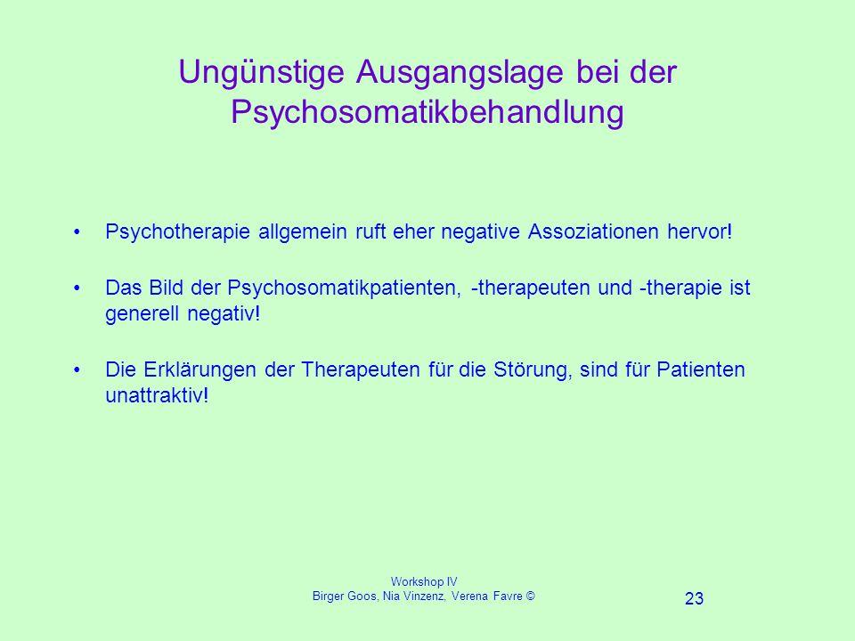 Workshop IV Birger Goos, Nia Vinzenz, Verena Favre © 23 Ungünstige Ausgangslage bei der Psychosomatikbehandlung Psychotherapie allgemein ruft eher negative Assoziationen hervor.