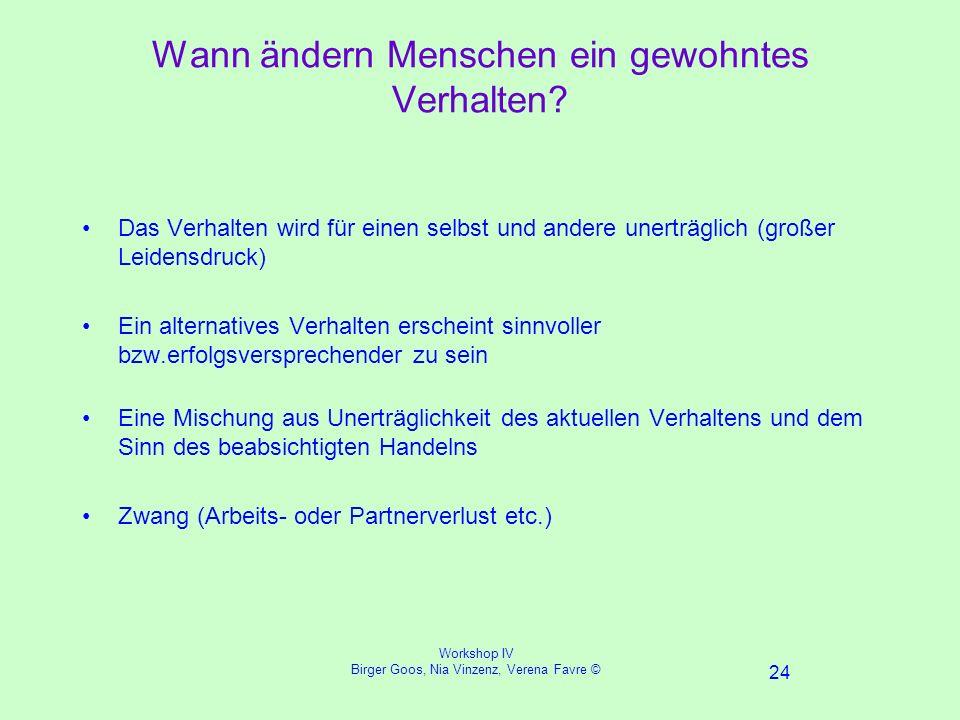 Workshop IV Birger Goos, Nia Vinzenz, Verena Favre © 24 Wann ändern Menschen ein gewohntes Verhalten.
