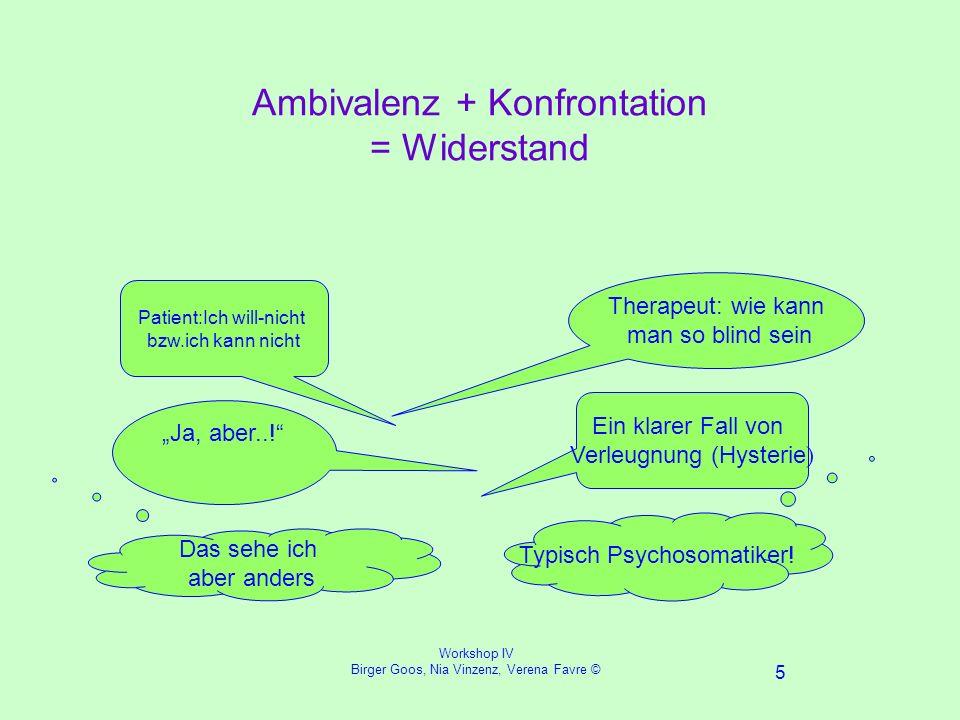 Workshop IV Birger Goos, Nia Vinzenz, Verena Favre © 5 Ambivalenz + Konfrontation = Widerstand Ja, aber...