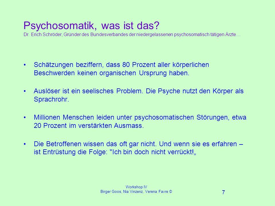Workshop IV Birger Goos, Nia Vinzenz, Verena Favre © 7 Psychosomatik, was ist das.