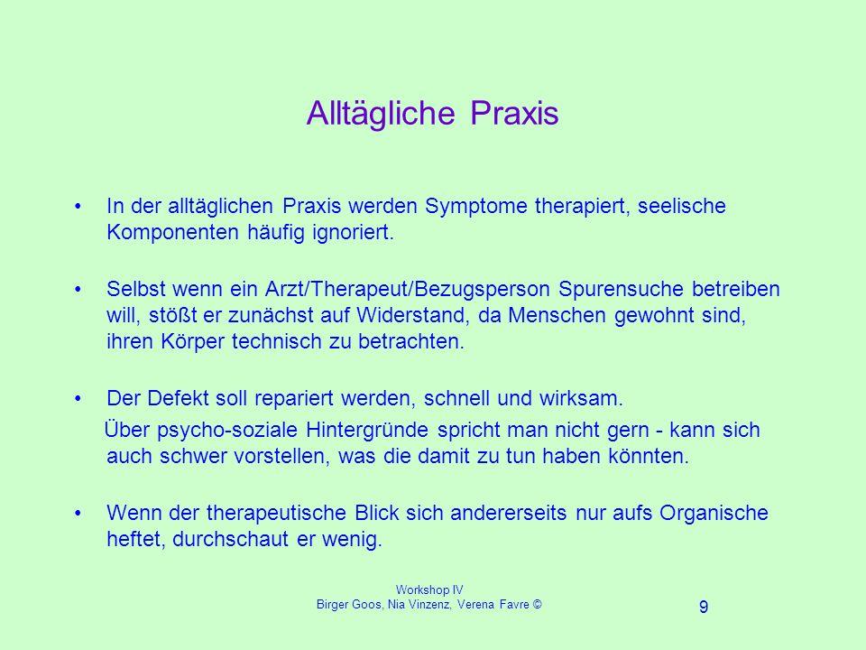 Workshop IV Birger Goos, Nia Vinzenz, Verena Favre © 9 Alltägliche Praxis In der alltäglichen Praxis werden Symptome therapiert, seelische Komponenten häufig ignoriert.