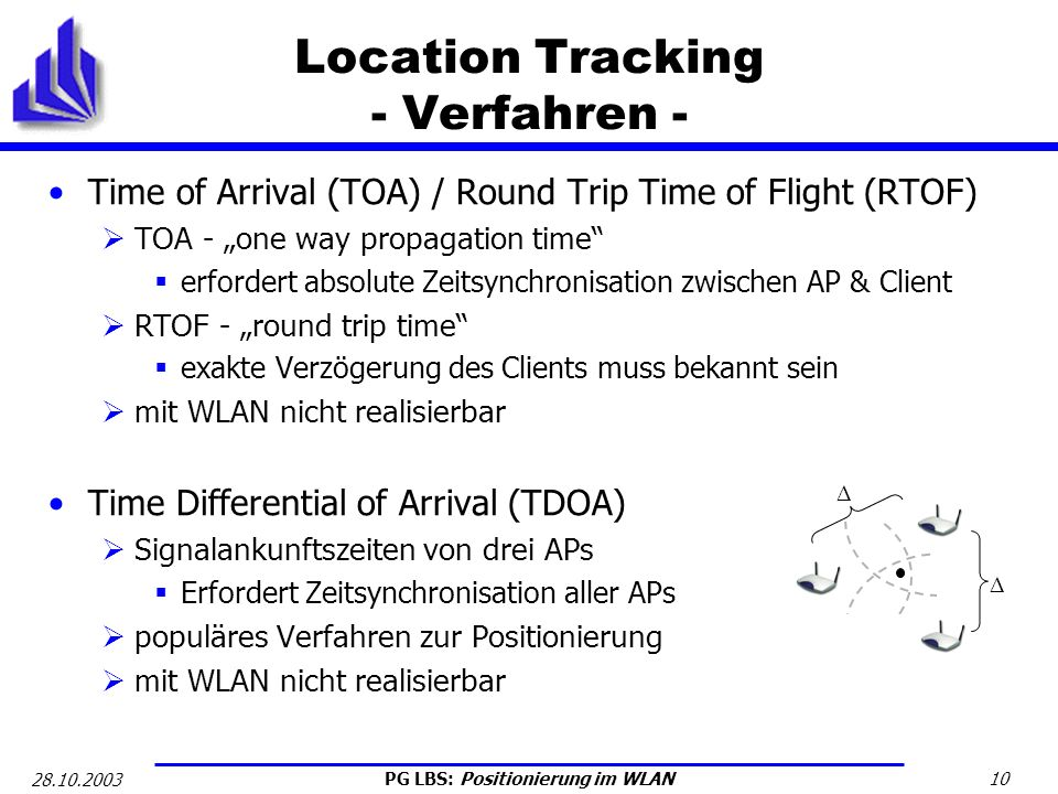 PG LBS: Positionierung im WLAN 10 28.10.2003 Location Tracking - Verfahren - Time of Arrival (TOA) / Round Trip Time of Flight (RTOF) TOA - one way pr