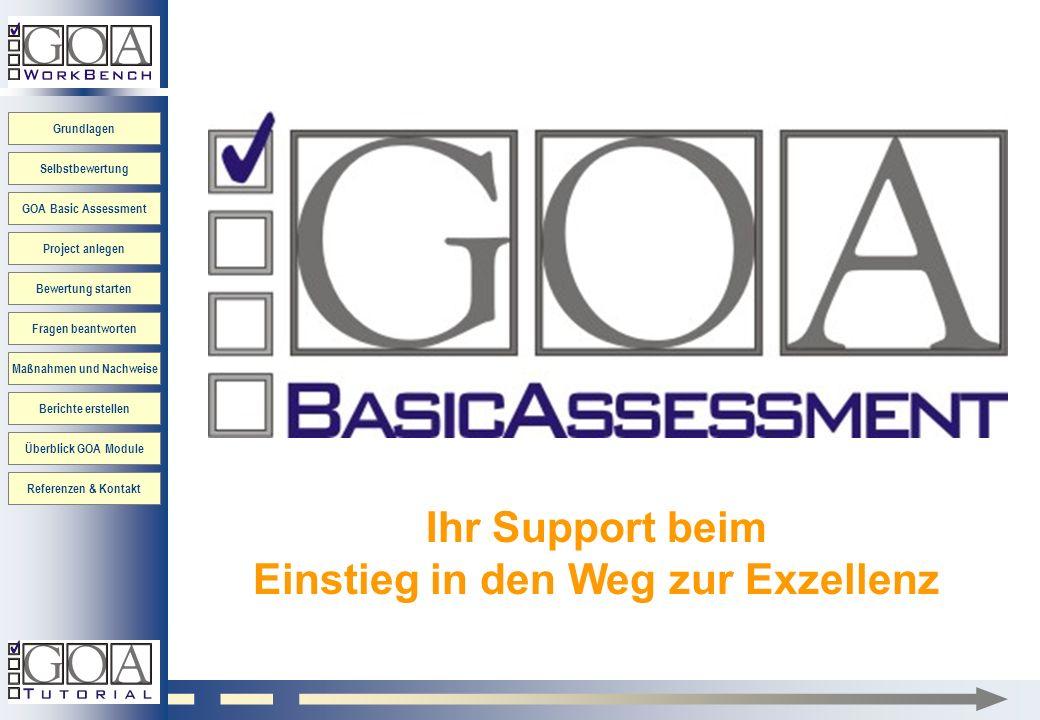 Grundlagen GOA Basic Assessment Project anlegen Bewertung starten Fragen beantworten Maßnahmen und Nachweise Berichte erstellen Überblick GOA Module R