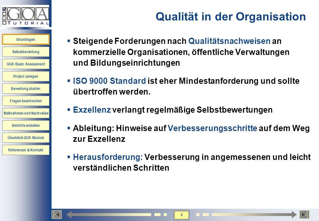 2 Grundlagen Selbstbewertung GOA Basic Assessment Project anlegen Bewertung starten Fragen beantworten Maßnahmen und Nachweise Berichte erstellen Über