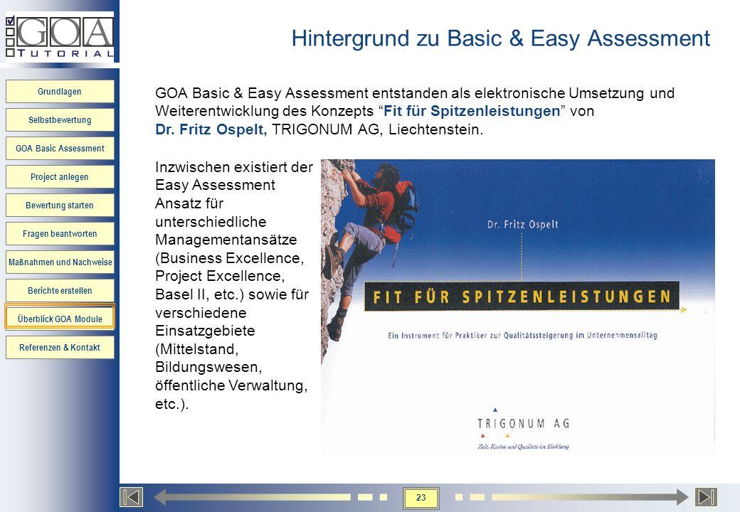 23 Grundlagen Selbstbewertung GOA Basic Assessment Project anlegen Bewertung starten Fragen beantworten Maßnahmen und Nachweise Berichte erstellen Übe