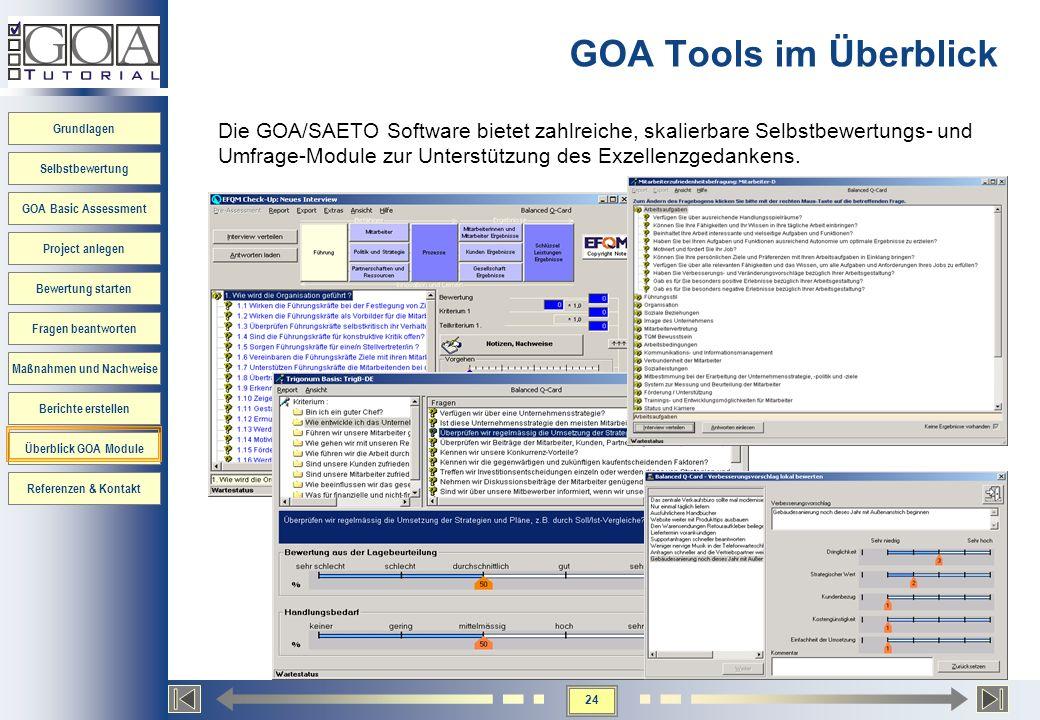 24 Grundlagen Selbstbewertung GOA Basic Assessment Project anlegen Bewertung starten Fragen beantworten Maßnahmen und Nachweise Berichte erstellen Übe