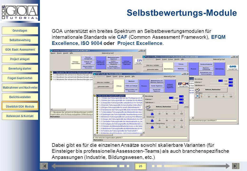 25 Grundlagen Selbstbewertung GOA Basic Assessment Project anlegen Bewertung starten Fragen beantworten Maßnahmen und Nachweise Berichte erstellen Übe