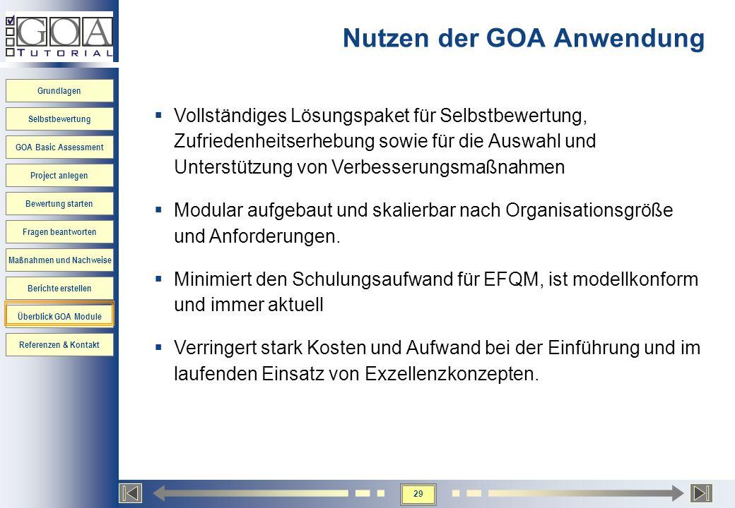 29 Grundlagen Selbstbewertung GOA Basic Assessment Project anlegen Bewertung starten Fragen beantworten Maßnahmen und Nachweise Berichte erstellen Übe