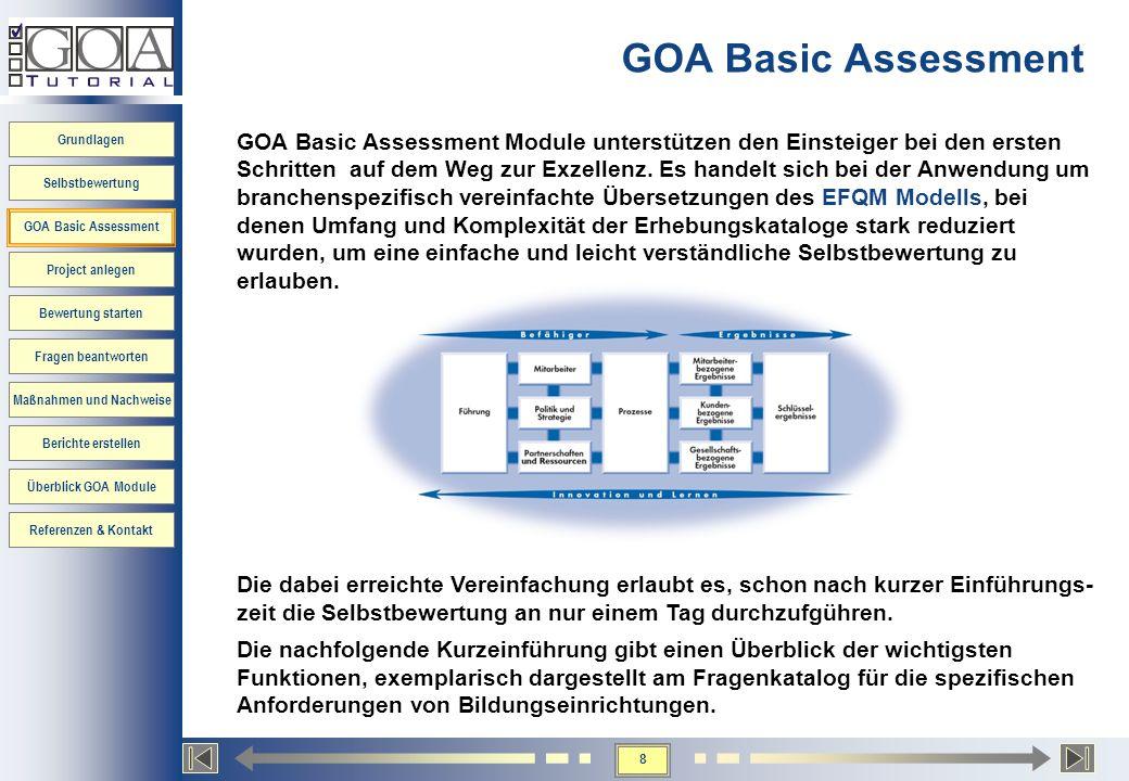 8 Grundlagen Selbstbewertung GOA Basic Assessment Project anlegen Bewertung starten Fragen beantworten Maßnahmen und Nachweise Berichte erstellen Über