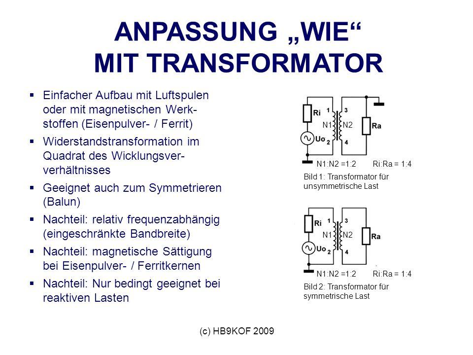 (c) HB9KOF 2009 ANPASSUNG WIE MIT TRANSFORMATOR Einfacher Aufbau mit Luftspulen oder mit magnetischen Werk- stoffen (Eisenpulver- / Ferrit) Widerstandstransformation im Quadrat des Wicklungsver- verhältnisses Geeignet auch zum Symmetrieren (Balun) Nachteil: relativ frequenzabhängig (eingeschränkte Bandbreite) Nachteil: magnetische Sättigung bei Eisenpulver- / Ferritkernen Nachteil: Nur bedingt geeignet bei reaktiven Lasten N1:N2 =1:2 N2N1 Ri:Ra = 1:4 Bild 1: Transformator für unsymmetrische Last N1N2 N1:N2 =1:2Ri:Ra = 1:4 Bild 2: Transformator für symmetrische Last