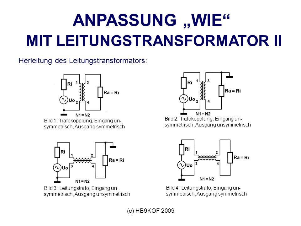 (c) HB9KOF 2009 ANPASSUNG WIE MIT LEITUNGSTRANSFORMATOR II Herleitung des Leitungstransformators: Bild 1: Trafokopplung, Eingang un- symmetrisch, Ausgang symmetrisch Bild 2: Trafokopplung, Eingang un- symmetrisch, Ausgang unsymmetrisch Bild 3: Leitungstrafo, Eingang un- symmetrisch, Ausgang unsymmetrisch Bild 4: Leitungstrafo, Eingang un- symmetrisch, Ausgang symmetrisch