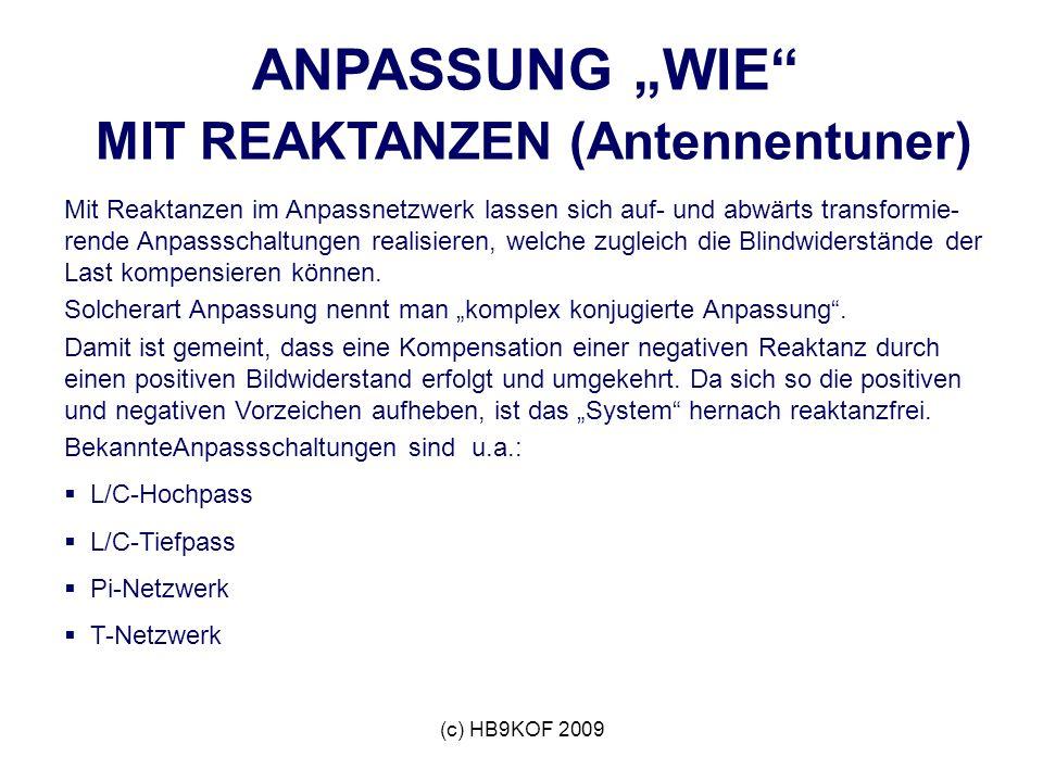 (c) HB9KOF 2009 ANPASSUNG WIE MIT REAKTANZEN (Antennentuner) Mit Reaktanzen im Anpassnetzwerk lassen sich auf- und abwärts transformie- rende Anpassschaltungen realisieren, welche zugleich die Blindwiderstände der Last kompensieren können.