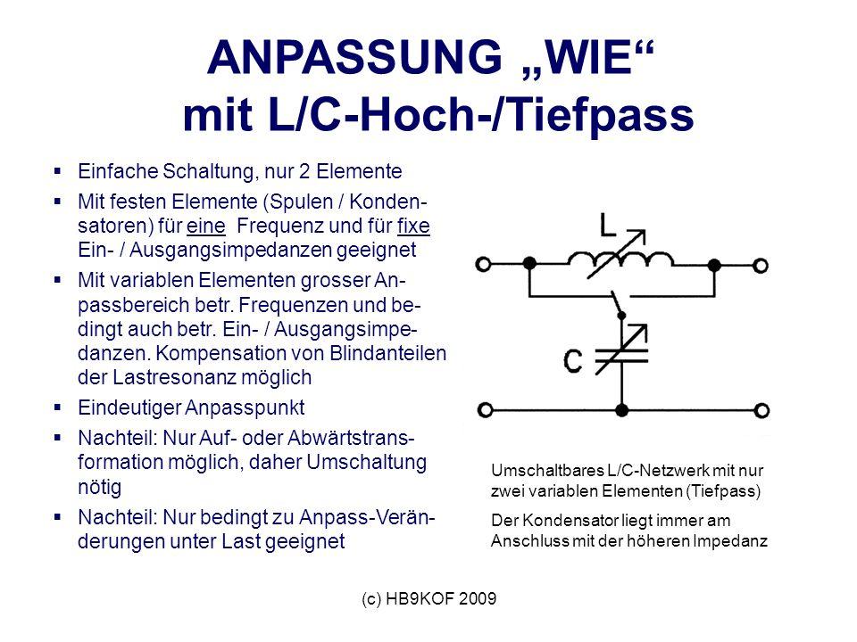 (c) HB9KOF 2009 ANPASSUNG WIE mit L/C-Hoch-/Tiefpass Einfache Schaltung, nur 2 Elemente Mit festen Elemente (Spulen / Konden- satoren) für eine Frequenz und für fixe Ein- / Ausgangsimpedanzen geeignet Mit variablen Elementen grosser An- passbereich betr.