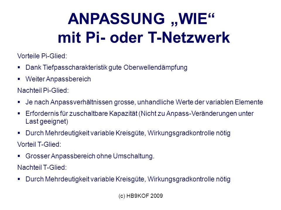 (c) HB9KOF 2009 ANPASSUNG WIE mit Pi- oder T-Netzwerk Vorteile Pi-Glied: Dank Tiefpasscharakteristik gute Oberwellendämpfung Weiter Anpassbereich Nach