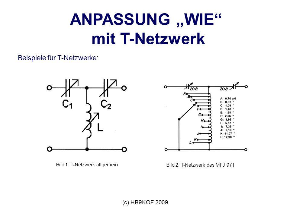 (c) HB9KOF 2009 ANPASSUNG WIE mit T-Netzwerk Beispiele für T-Netzwerke: Bild 1: T-Netzwerk allgemein Bild 2: T-Netzwerk des MFJ 971