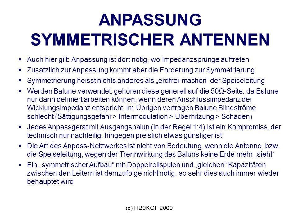 (c) HB9KOF 2009 ANPASSUNG SYMMETRISCHER ANTENNEN Auch hier gilt: Anpassung ist dort nötig, wo Impedanzsprünge auftreten Zusätzlich zur Anpassung kommt