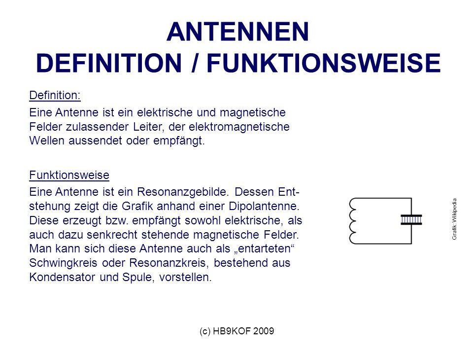 (c) HB9KOF 2009 ANTENNEN DEFINITION / FUNKTIONSWEISE Definition: Eine Antenne ist ein elektrische und magnetische Felder zulassender Leiter, der elektromagnetische Wellen aussendet oder empfängt.