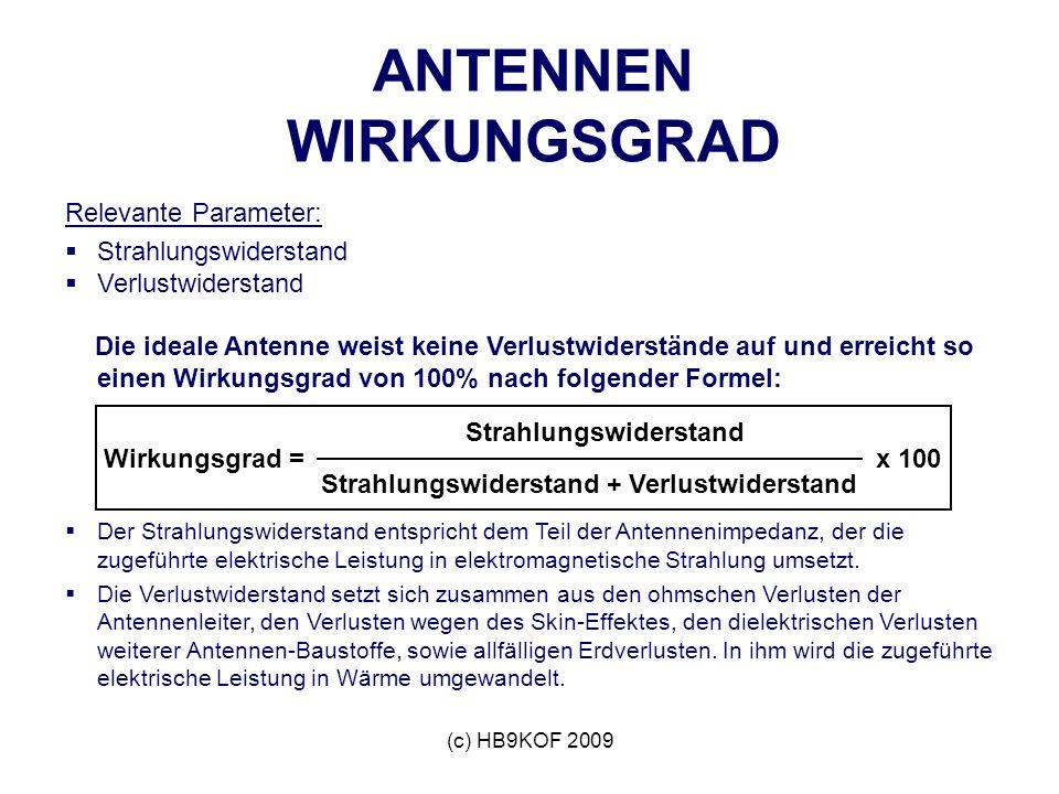 (c) HB9KOF 2009 ANTENNEN WIRKUNGSGRAD Relevante Parameter: Strahlungswiderstand Verlustwiderstand Die ideale Antenne weist keine Verlustwiderstände au