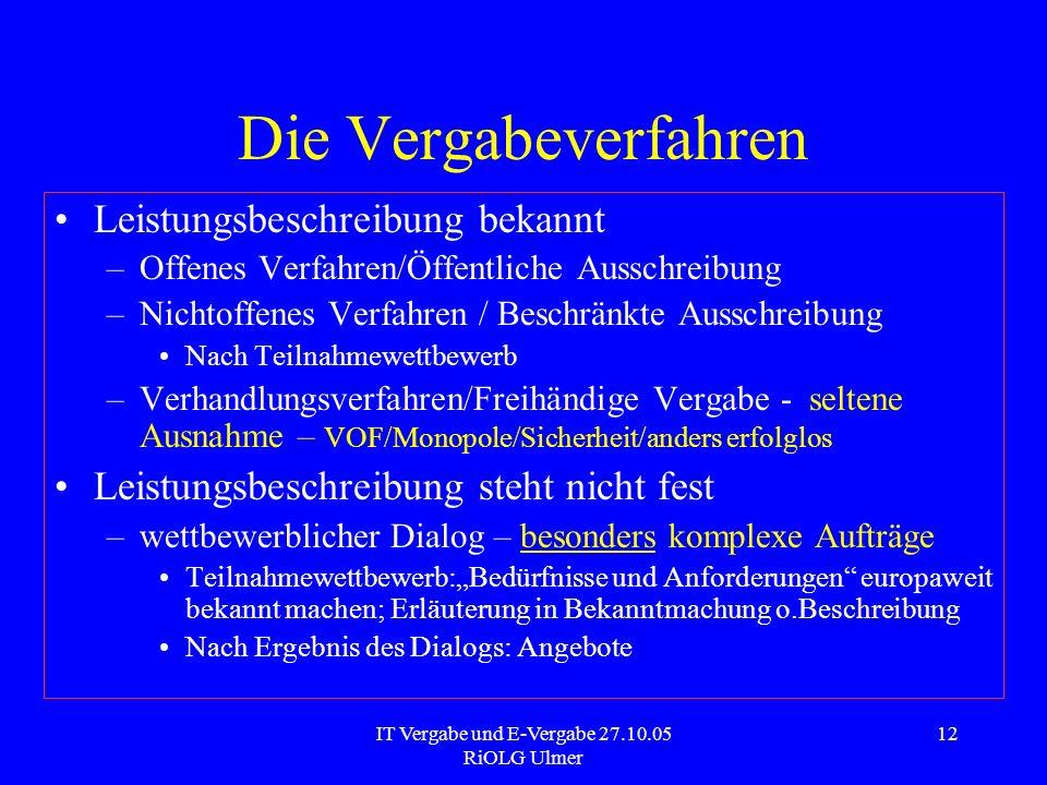 IT Vergabe und E-Vergabe 27.10.05 RiOLG Ulmer 12 Die Vergabeverfahren Leistungsbeschreibung bekannt –Offenes Verfahren/Öffentliche Ausschreibung –Nich