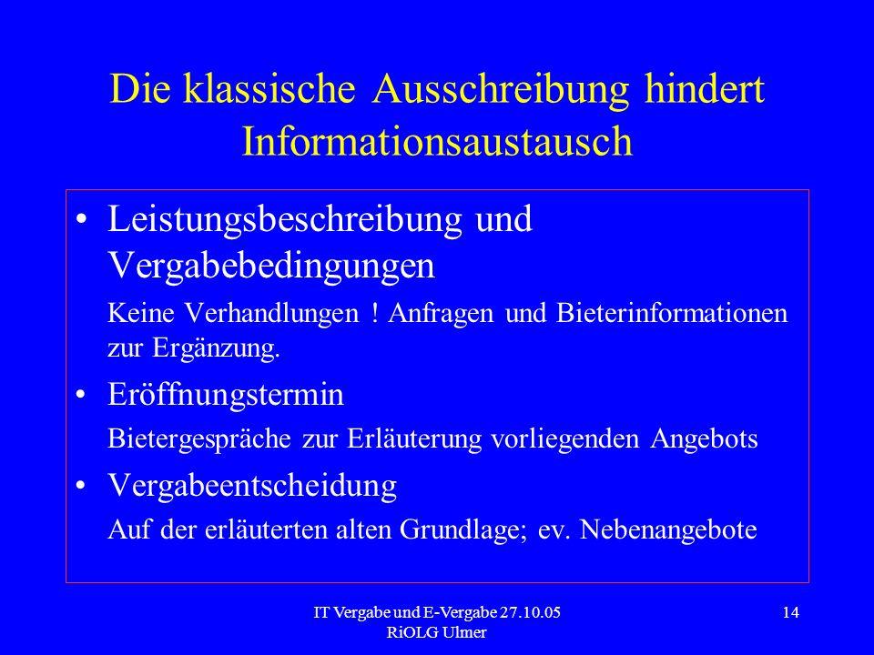 IT Vergabe und E-Vergabe 27.10.05 RiOLG Ulmer 14 Die klassische Ausschreibung hindert Informationsaustausch Leistungsbeschreibung und Vergabebedingung