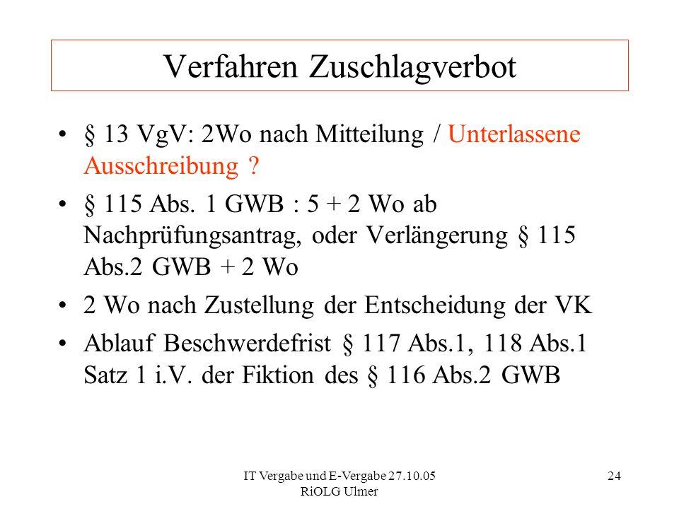 IT Vergabe und E-Vergabe 27.10.05 RiOLG Ulmer 24 Verfahren Zuschlagverbot § 13 VgV: 2Wo nach Mitteilung / Unterlassene Ausschreibung ? § 115 Abs. 1 GW