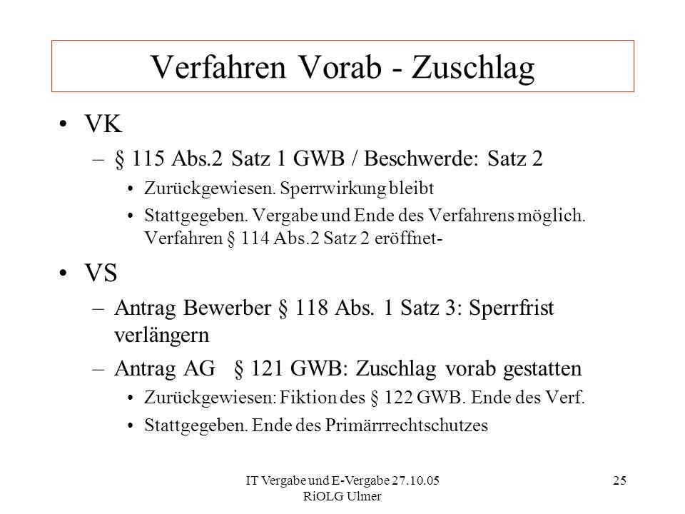 IT Vergabe und E-Vergabe 27.10.05 RiOLG Ulmer 25 Verfahren Vorab - Zuschlag VK –§ 115 Abs.2 Satz 1 GWB / Beschwerde: Satz 2 Zurückgewiesen. Sperrwirku