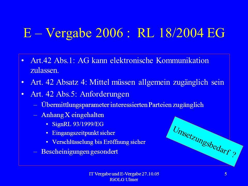 IT Vergabe und E-Vergabe 27.10.05 RiOLG Ulmer 6 E – Vergabe 2006 : RL 18/2004 EG Dynamisches Beschaffungssystem Wiederholte Beschaffung marktüblicher Leistungen im vollelektronischen Verfahren für bestimmte Zeit – Art.33 RL Regeln des Art.42 Besondere Ausformung - –Leistungsbeschreibung –Aufruf/Abgabe von Angeboten.