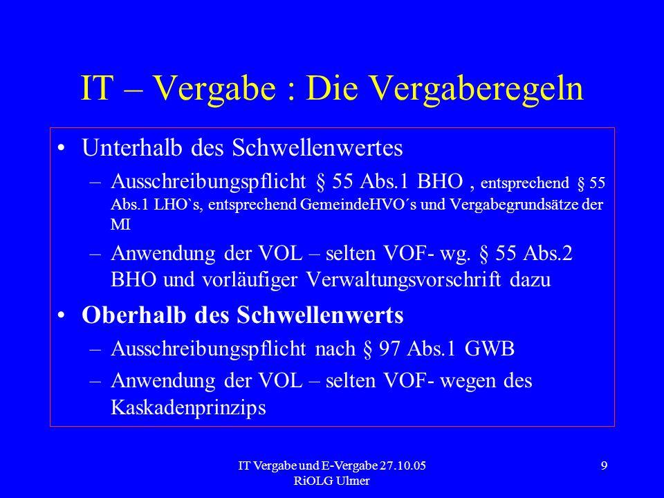 IT Vergabe und E-Vergabe 27.10.05 RiOLG Ulmer 9 IT – Vergabe : Die Vergaberegeln Unterhalb des Schwellenwertes –Ausschreibungspflicht § 55 Abs.1 BHO,