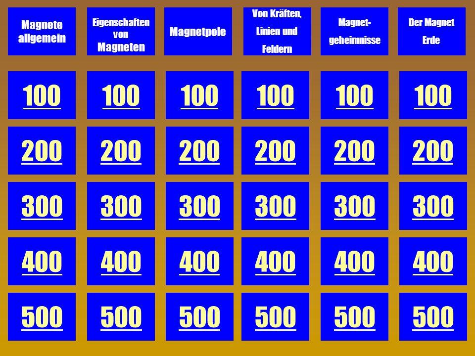 D 100 Wie nennt man den Raum um einen Magneten, in dem Magnetkraft wirkt? -> Antwort