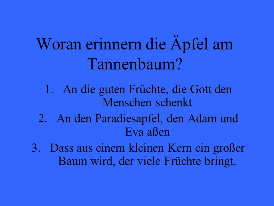Woran erinnern die Äpfel am Tannenbaum? 1.An die guten Früchte, die Gott den Menschen schenkt 2.An den Paradiesapfel, den Adam und Eva aßen 3.Dass aus