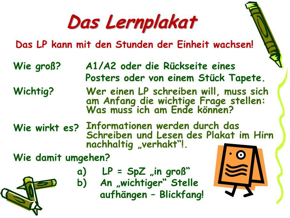 Das Lernplakat A1/A2 oder die Rückseite eines Posters oder von einem Stück Tapete. Wer einen LP schreiben will, muss sich am Anfang die wichtige Frage