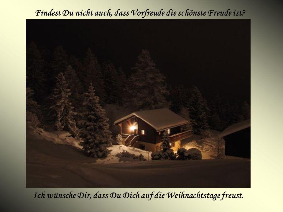 Findest Du nicht auch, dass Vorfreude die schönste Freude ist? Ich wünsche Dir, dass Du Dich auf die Weihnachtstage freust.
