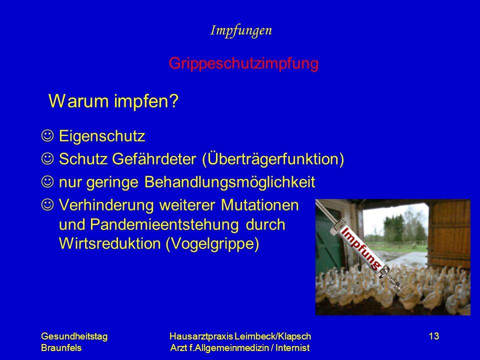 Gesundheitstag Braunfels Hausarztpraxis Leimbeck/Klapsch Arzt f.Allgemeinmedizin / Internist 13 Warum impfen? Eigenschutz Schutz Gefährdeter (Überträg