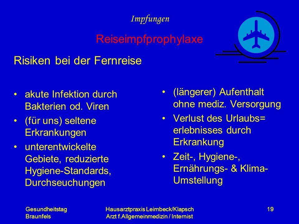Gesundheitstag Braunfels Hausarztpraxis Leimbeck/Klapsch Arzt f.Allgemeinmedizin / Internist 19 Risiken bei der Fernreise akute Infektion durch Bakter
