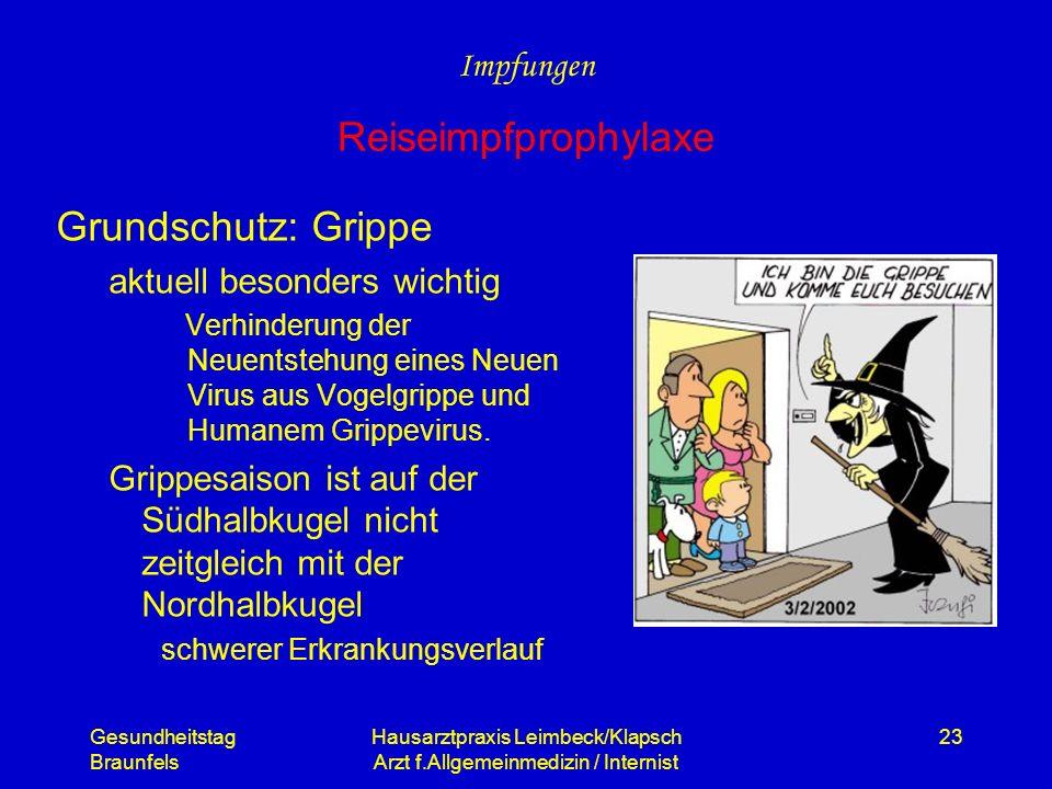 Gesundheitstag Braunfels Hausarztpraxis Leimbeck/Klapsch Arzt f.Allgemeinmedizin / Internist 23 Grundschutz: Grippe aktuell besonders wichtig Verhinde