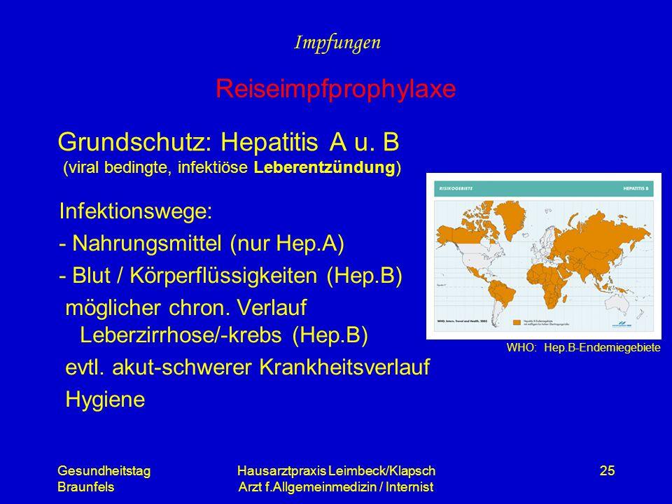 Gesundheitstag Braunfels Hausarztpraxis Leimbeck/Klapsch Arzt f.Allgemeinmedizin / Internist 25 Grundschutz: Hepatitis A u. B (viral bedingte, infekti