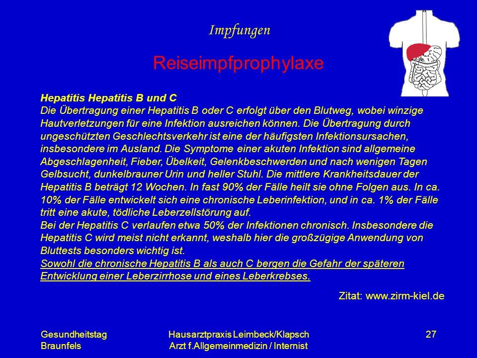 Gesundheitstag Braunfels Hausarztpraxis Leimbeck/Klapsch Arzt f.Allgemeinmedizin / Internist 27 Impfungen Reiseimpfprophylaxe Hepatitis Hepatitis B un