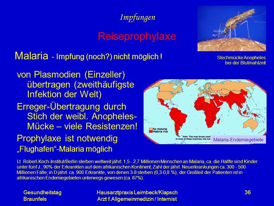 Gesundheitstag Braunfels Hausarztpraxis Leimbeck/Klapsch Arzt f.Allgemeinmedizin / Internist 36 Malaria - Impfung (noch?) nicht möglich ! von Plasmodi