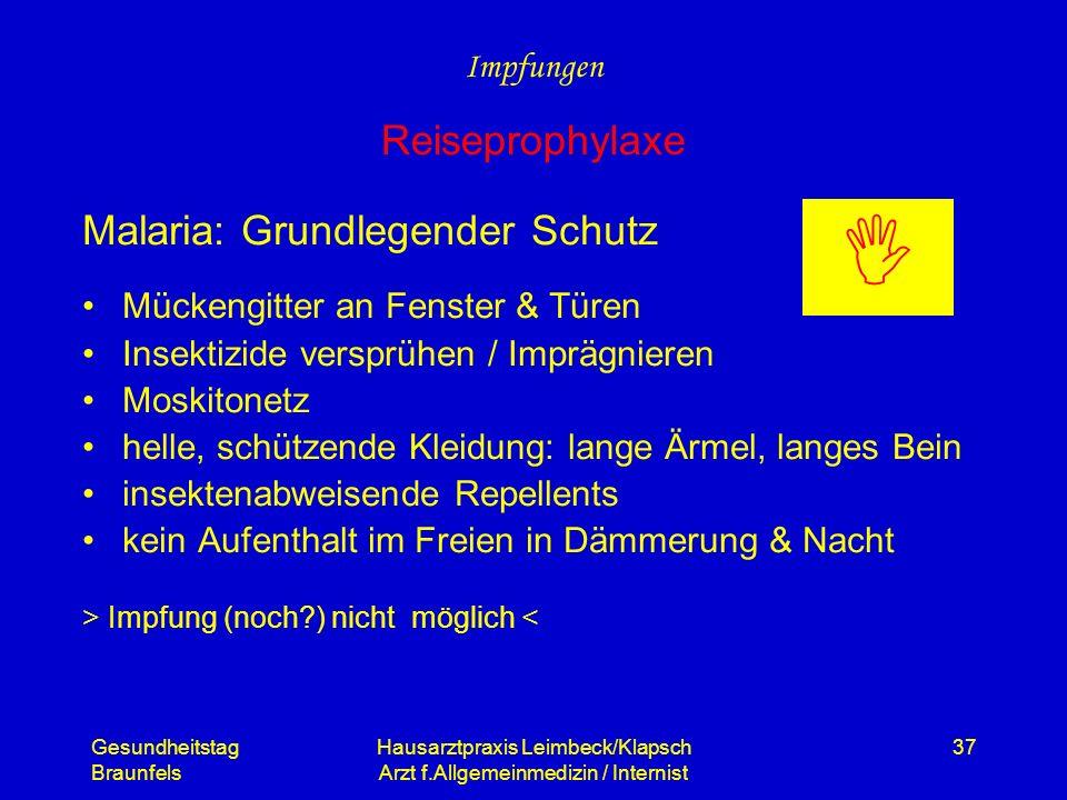 Gesundheitstag Braunfels Hausarztpraxis Leimbeck/Klapsch Arzt f.Allgemeinmedizin / Internist 37 Malaria: Grundlegender Schutz Mückengitter an Fenster